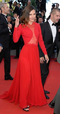 Virginie Ledoyen in a red Georges Hobeika gown #Cannes2015