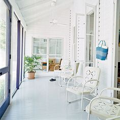 Screened Porch With Whitewashed Metal Chairs < Outdoor Furniture Guide - Coastal Living