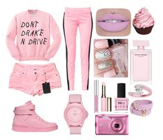"""""""Pink"""" by nastusha03406 ❤ liked on Polyvore featuring Carmar, Maiocci, Moschino, Clarins, ncLA, Skechers, Allurez and Versace"""