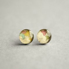 Retro world map stud earrings world map earrings antique map world map earring studs surgical steel studs antique world map earring studs whole wide world stud gift for her map jewelry mens earrings gumiabroncs Gallery