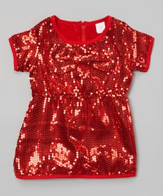 Look at this Red Sequin Shift Dress - Toddler