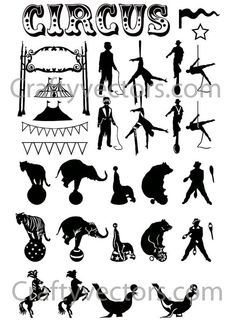 Circus Silhouettes Vector File SVG by CraftyVectors on Etsy