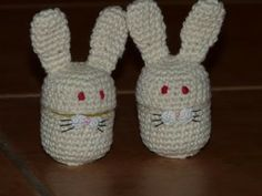 crocheted (Kinder egg) rabbits