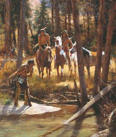 Howard Terpning - Bear Tracks (http://www.hiddenridgegallery.com/store/howard-terpning/bear-tracks.html) #art #howardterpning
