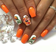 Pin on Amazing jewelry Pin on Amazing jewelry Orange Nail Designs, Acrylic Nail Designs, Nail Art Designs, Acrylic Nails, Tulip Nails, Lily Nails, Fancy Nails, Pretty Nails, Spring Nails