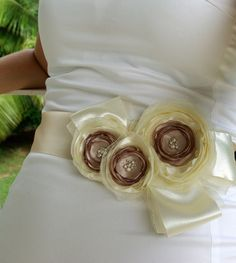 Bridal satin-organza flowers sash belt (via etsy)