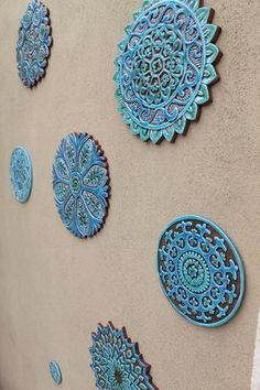 walls Set of 9 Mandala circle wall art tiles made from ceramic. [This listing has a Set of 9 Mandala circle wall art tiles made from ceramic. [This listing has a discount for ordering multiple tiles] which includes… Mandala wall Glazed Ceramic Tile, Ceramic Wall Art, Tile Art, Outdoor Wall Art, Outdoor Walls, Unique Wall Art, Large Wall Art, Psychedelic Visuals, Wall Art Sets