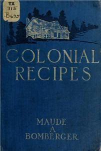 Instant pdf downloads of colonial recipes from both Maryland and Virginia.