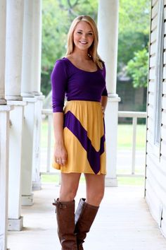 Tailgate Trendy Gameday Dress- Purple and Gold | Hazel & Olive