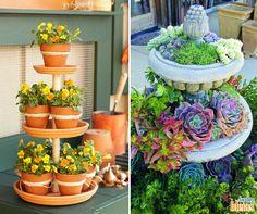 Para te inspirar a fazer novas coisas no seu jardim neste final de semana separamos essas duas imagens. Você pode fazer uma torre com vasos ou ainda utilizar uma fonte para preencher com suculentas.