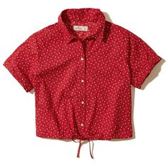 Hollister Cropped Tie-Waist Shirt ($35) ❤ liked on Polyvore featuring tops, red star pattern, button front top, all over print shirts, drawstring shirt, red shirt and crop top