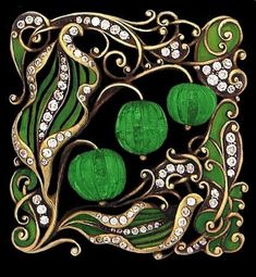 Art Nouveau carved emerald, enamel and diamond-set brooch.