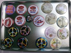 Custom buttons, magnets, key chains, and mirrors.
