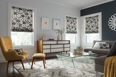 Black & White Roman Shades make a statement in your living room. Graber Blinds Roman Shades with Cor. Springs Window Fashions, Graber Blinds, Honeycomb Shades, Custom Blinds, Custom Shades, Custom Window Treatments, Blinds For Windows, Bay Windows, Window Styles