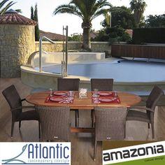 Amazonia Lazio Extendable 7-piece Eucalyptus and Wicker Dining Set