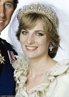 Celia wore the Spencer tiara, which was worn by Princess Diana when she married Prince Cha...