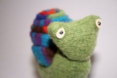 racing snails, made with felted jumpers - there is a fabric game board as well.
