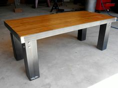 Bamboo and steel coffee table by Modern Industrial. $280.00, via Etsy.