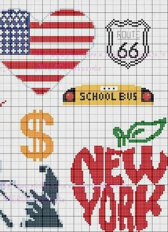 New York, cross stitch B Xmas Cross Stitch, Cross Stitch Cards, Counted Cross Stitch Patterns, Cross Stitching, Cross Stitch Embroidery, New York, Cross Stitch Freebies, 3d Quilling, Bead Loom Patterns