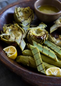 // Grilled artichoke stems with tarragon garlic butter