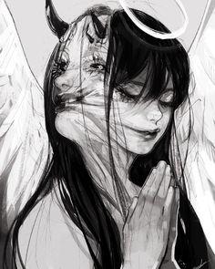 "Polubienia: 20.1 tys., komentarze: 162 – Meeda Mohsin (@meeda_) na Instagramie: ""Corrupted. #pencil #sketch #colored #in #photoshop #angel #demon #tumorthing"""