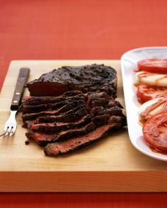 Grilled Pepper-Crusted Sirloin - Slice steak against the grain: Place steak on a cutting board and, holding the blade of a sharp knife at a 45-degree angle, cut into thin slices.