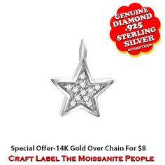 """1/15 Ct Round Cut White Genuine Diamond 14K Gold Star Pendant Without Chain """"Mother\'s Day Gift"""". Starting at $44"""