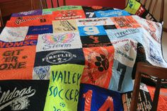 We make fabulous t-shirt quilts from your t-shirts! Here's a soccer t-shirt quilt.