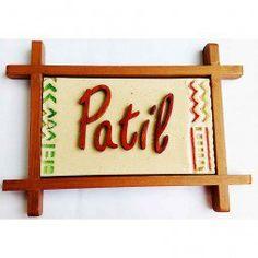 Ceramic Name Plate - Zig Zag Motif (Patil)
