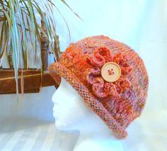 Salmon Rolled Brim Hat. Handspun Hat. Wool Winter Hat. Optional Crochet Flower. Hats for Women. Peach. Multi-Shade Coral. Knitted Hat. by JoyfulHandKnits on Etsy