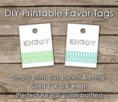Wedding Favor Tags - Nail Polish Favor Tag, Bridal Shower, Baby shower, Party favor, Blue, Green, Instant Download on Etsy, $8.00