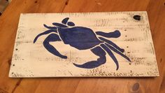 Blue Crab Maryland Crab Distressed Pallet Sign Plaque by Kreationsbykellyr on Etsy