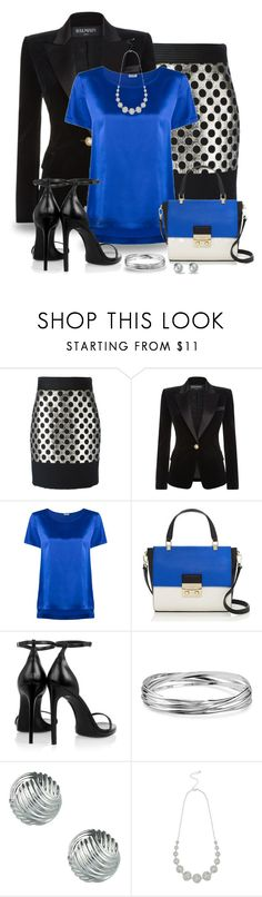 """""""Silver Spotted Skirt"""" by snickersmother ❤ liked on Polyvore featuring Emanuel Ungaro, Balmain, Tufi Duek, RGB, Kate Spade, Yves Saint Laurent, Blue Nile, Sperry and M&Co"""