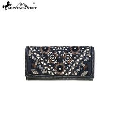 Montana West Wallet Studs Collection Secretary Style Black #MontanaWest #Wallet