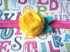Yellow Felt Flower Headband by micahandco on Etsy, $6.00