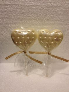 24 Romantic Heart with Pearl Finish Chocolate Lollipop Favors Wedding Bridal on Etsy, $45.00