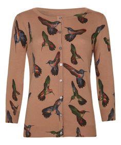 Look what I found on #zulily! Brown & Blue Hummingbird Cardigan #zulilyfinds