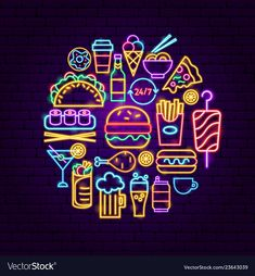 Find Fast Food Neon Concept Vector Illustration stock images in HD and millions of other royalty-free stock photos, illustrations and vectors in the Shutterstock collection. Thousands of new, high-quality pictures added every day. Neon Wallpaper, Cartoon Wallpaper, Wallpaper Quotes, Iphone Wallpaper, Neon Design, Design Art, Neon Food, Neon Sign Bedroom, Neon Aesthetic