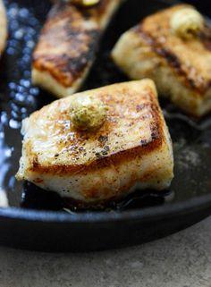 Crisp Skillet Sea Bass with Pistachio Butter, Mango Slaw and Tostadas   howsweeteats.com