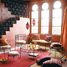 Moroccan Room Décor for Terrace and Porch: Moroccan Room Decor Girly Living Room Stripes Cushions Red Rug  Cream Pad Orange Curtain Magenta Chandeliers ~ dickoatts.com Terrace Designs Inspiration
