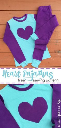 Heart Pajamas Pattern. With links to free size 9 sewing pattern and 3 heart templates | DIY Crush