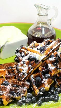 Inspired By eRecipeCards: Blueberry MALTED Belgian Waffles with Maple Syrup and Whipped Cream - 52 Breakfast Ideas