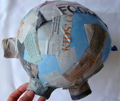Papier-mâché piggy bank