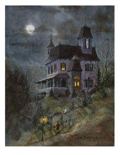Nine Spooks, Halloween haunted house painting