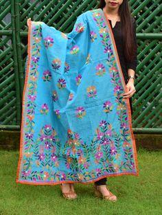 Silk Kurti, Kalamkari Saree, Basic Embroidery Stitches, Embroidery Art, Phulkari Suit, Phulkari Embroidery, New Designer Dresses, Potli Bags, Herringbone Stitch