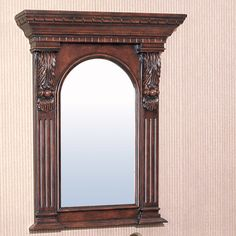 Legion Furniture Mirror In Dark Cherry Vanity Wall Mirror, Window Mirror, Round Wall Mirror, Beveled Mirror, Full Length Floor Mirror, Traditional Baths, Traditional Decor, Mirrors Wayfair, Grey Bathrooms