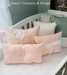 Pillows I made for the girls nursery. #DIY  #Pillows #Peach #Nursery