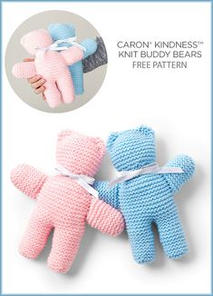 Free Knitting Pattern for One Skein Buddy Bears - Cuddly teddy bears knit in garter stitch that can be finished in an evening or two. Uses one skein of the recommended yarn.