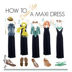 """How to Dress Up a Maxi Dress"" by thelifeoftheparty on Polyvore"