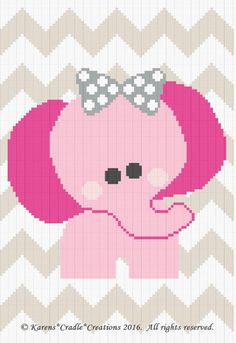 Crochet Patterns - ELEPHANT CHEVRON Baby Graph/Chart Afghan Pattern  #KarensCradleCreations #Afghan